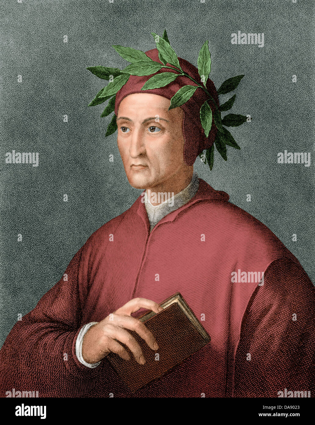 Dante Alighieri, poeta renacentista. Grabado pintado digitalmente Imagen De Stock