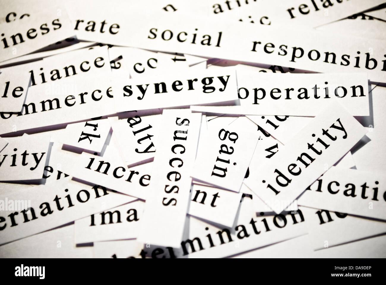 La sinergia. Concepto de escotadura palabras relacionadas con la actividad empresarial. Imagen De Stock