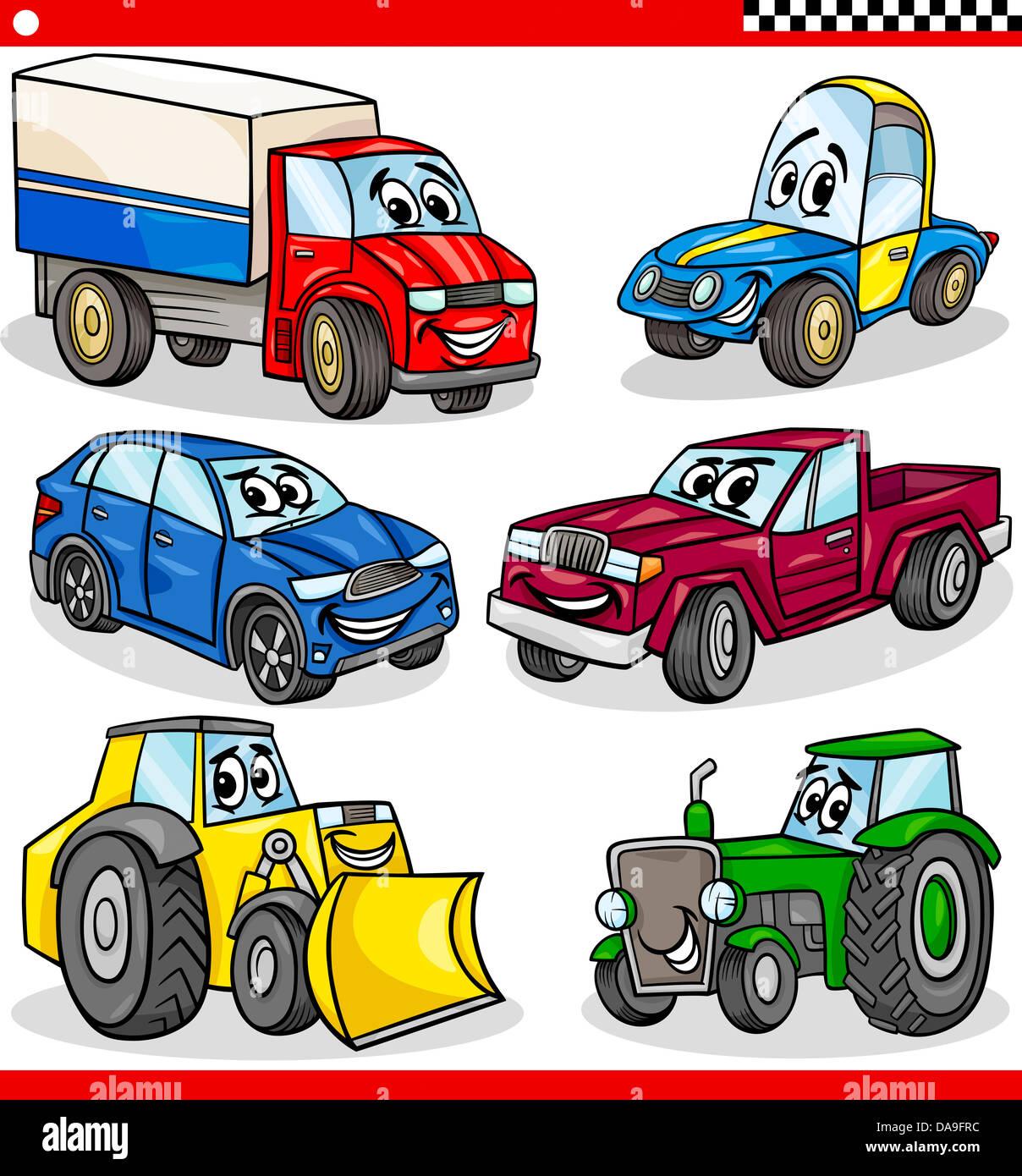 Ilustración De Dibujos Animados De Coches Y Camiones Vehículos Y Máquinas Personajes De Historietas Para Niños Fotografía De Stock Alamy