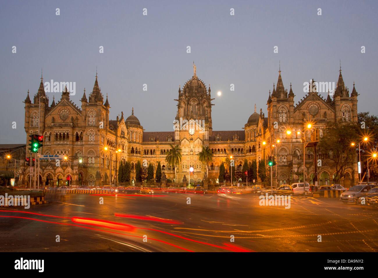 La India, Sur de India, Asia, Maharashtra, Mumbai, Bombay, Ciudad Dadabhai Naoroji, Road, Victoria Station Chatrapati Imagen De Stock