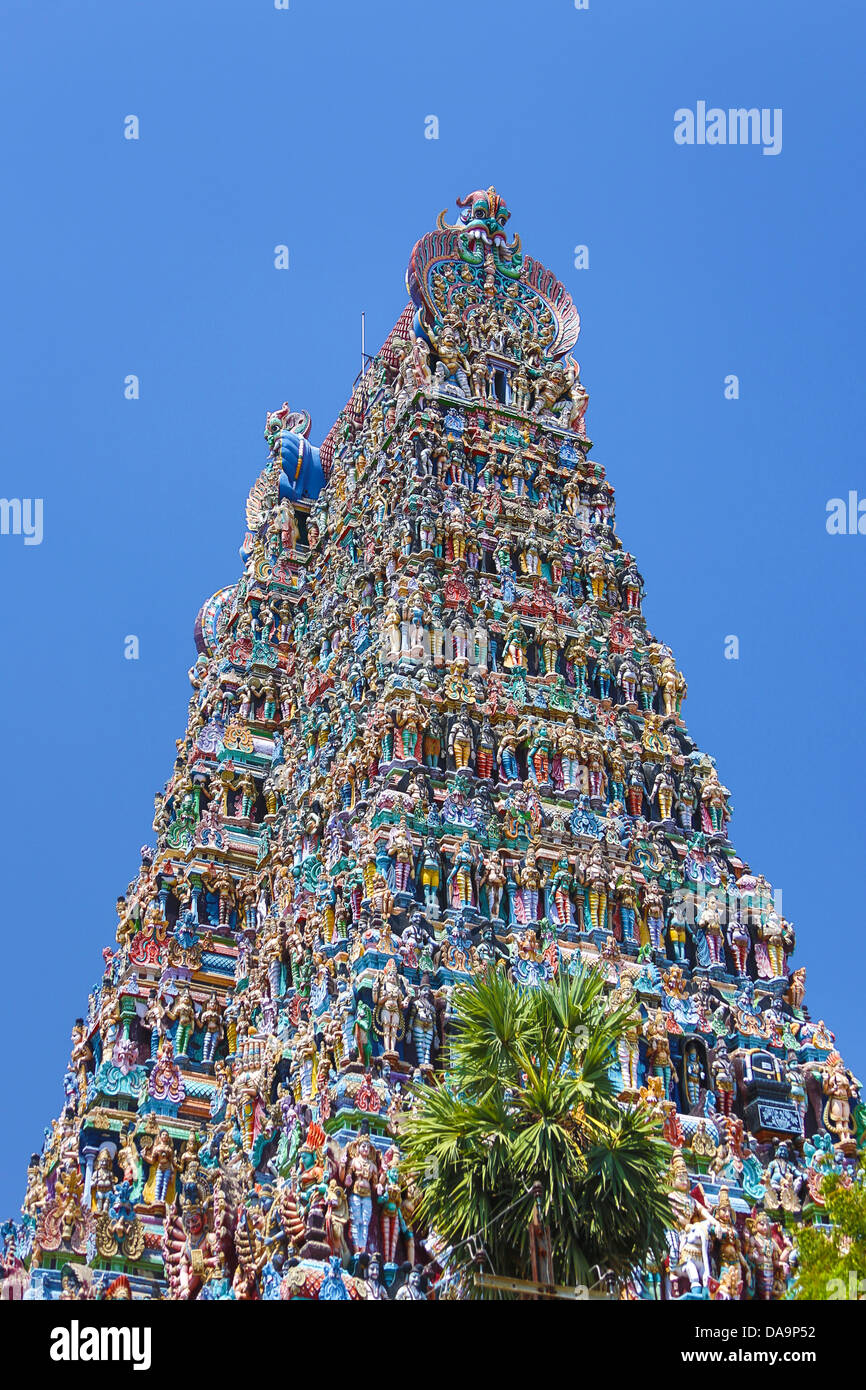 La India, Sur de la India, en Asia, en Tamil Nadu, Madurai, Sri Meenakshi, Templo Gopuram, arte, Grande, famoso, Imagen De Stock