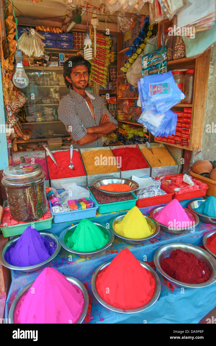 La India, Sur de India, Asia, Karnataka, Mysore, Devarala, mercado, especias, tienda, coloridos, colores, tienda, Imagen De Stock