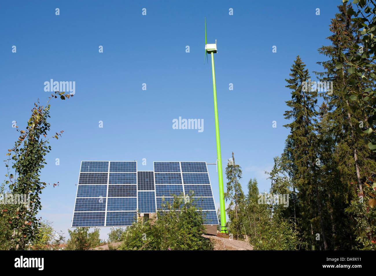 Paneles solares para la producción de electricidad, Lappeenranta Finlandia Imagen De Stock