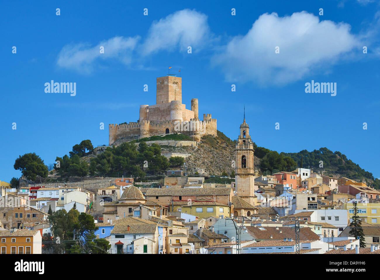 España, Europa, Valencia, arquitectura, edificios, el castillo Hill, históricos, historia, pueblo, ciudad, Imagen De Stock