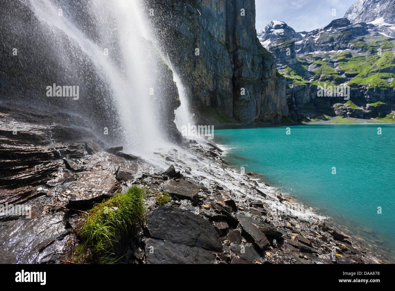 Lago Oeschinen, Tränen, Suiza, Europa, cantón de Berna, en el Oberland Bernés Kandertal Kander, valle, Imagen De Stock