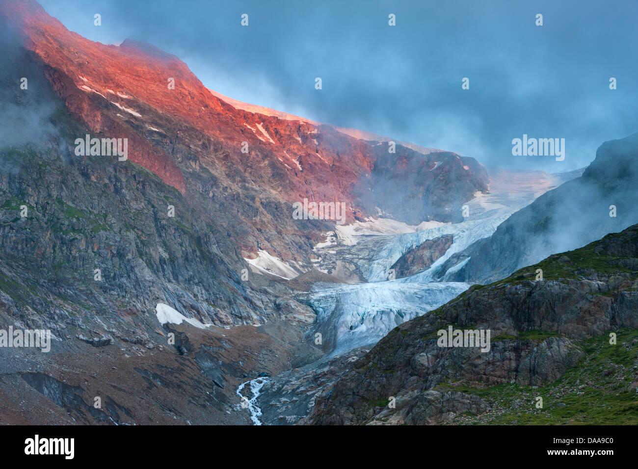 Glaciar Piedras, Suiza, Europa, cantón de Berna, en el Oberland Bernés Gadmental, glaciar, hielo, roca, Imagen De Stock