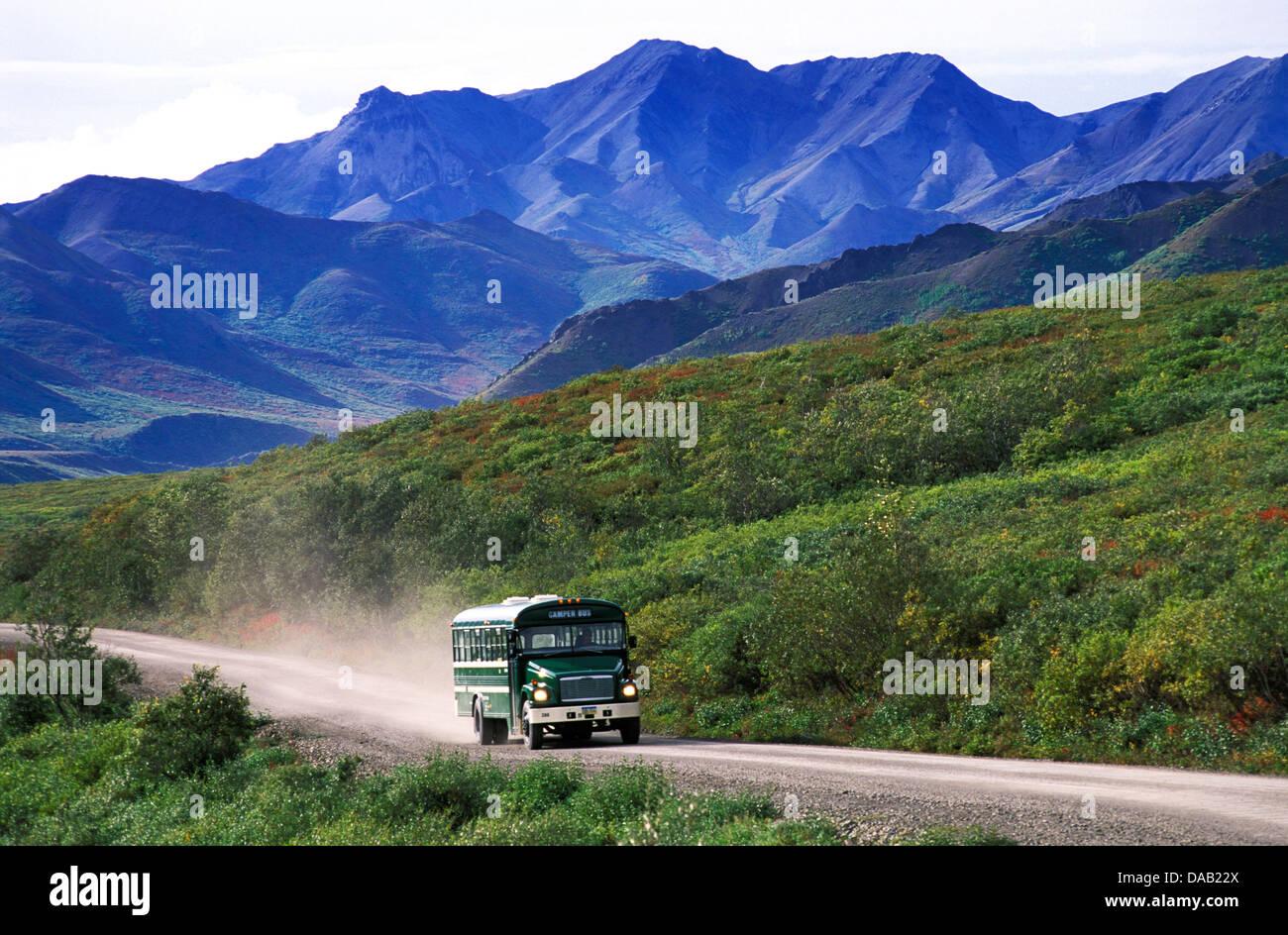Los autobuses lanzadera, Kantishna Road, Denali, Parque Nacional, preservar, Alaska, EE.UU., bus, montañas, Imagen De Stock