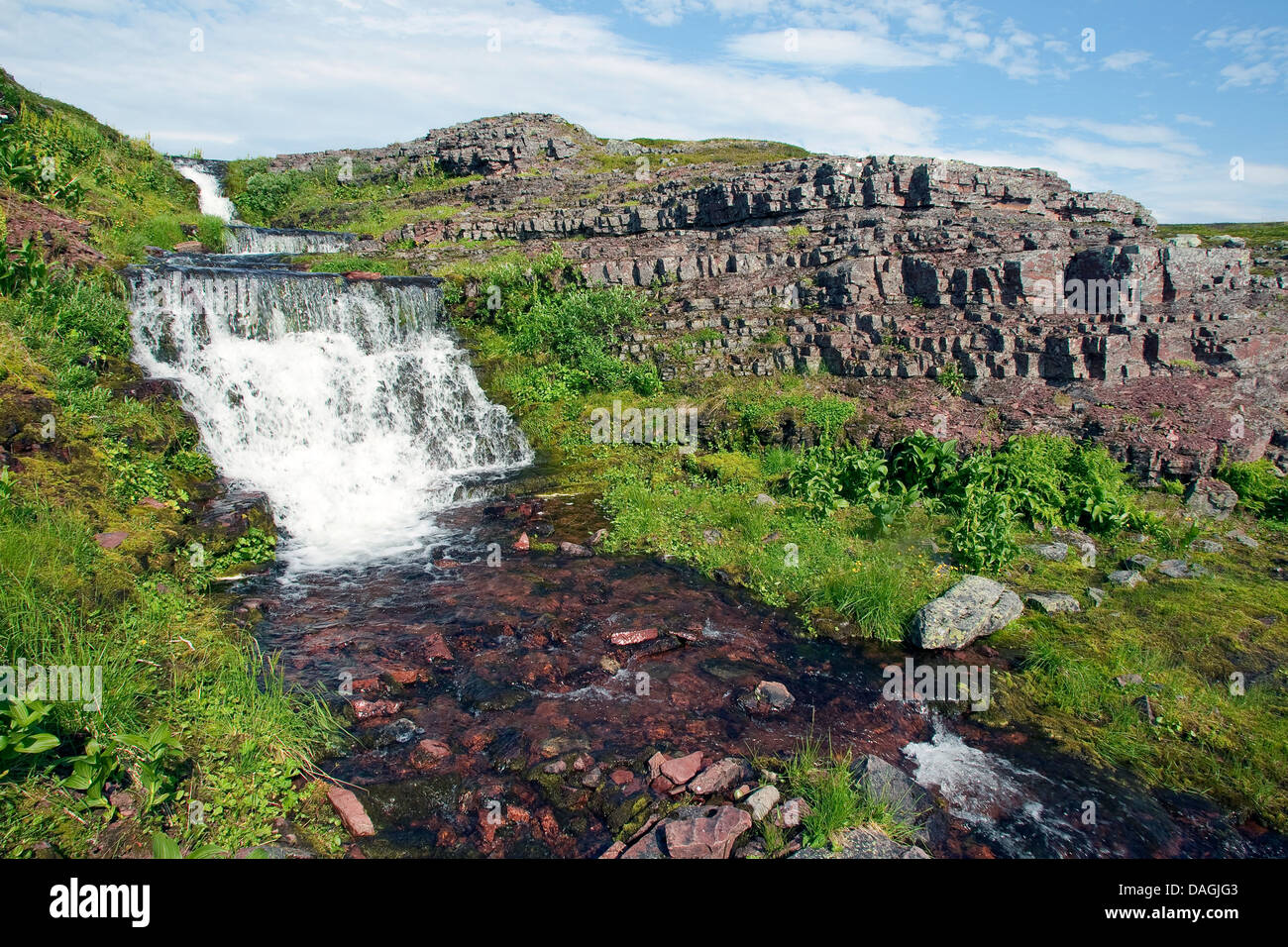 Agua corriente, Noruega, la Península de Varanger, Laponia Foto de stock