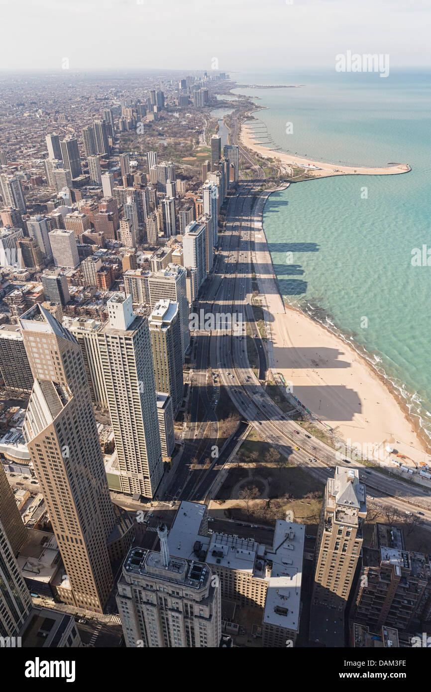 Chicago, Illinois, EE.UU., vista desde la Torre John Hancock y el Lago Michigan Imagen De Stock