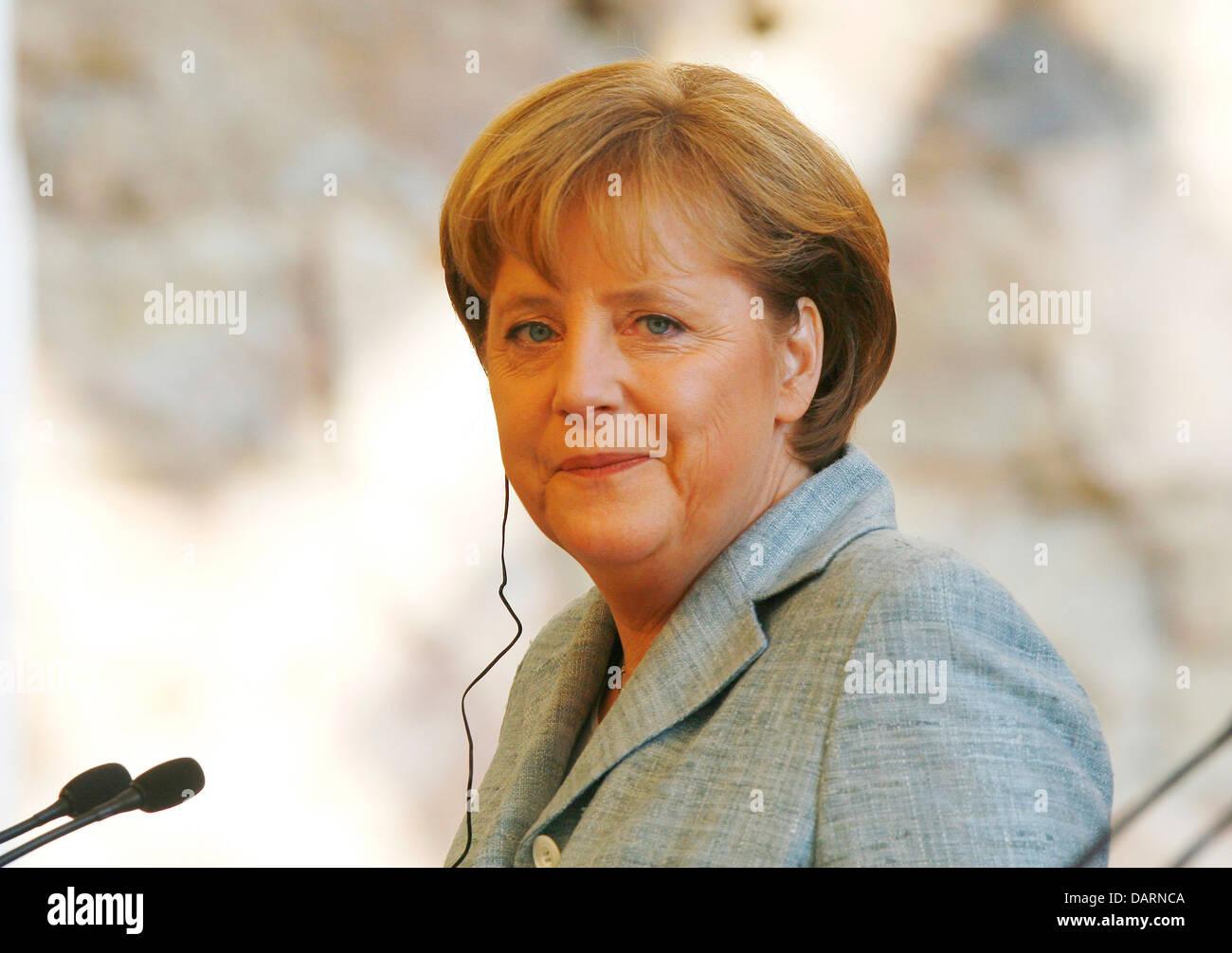 Angela Merkel, canciller alemán visto durante una conferencia de prensa durante una Hispano-German satisfacer Imagen De Stock