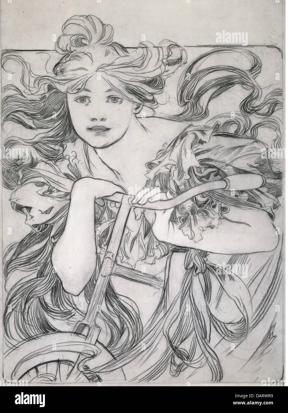 Bellas artes, Mucha, Alfons (1860 - 1939), gráfico, 'Ciclista', Boceto, dibujo, 1902, colección privada, bicicleta, personas Foto de stock