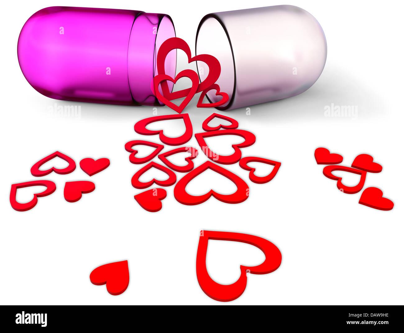 3d amor píldora con corazones rojos para el Día de San Valentín Imagen De Stock