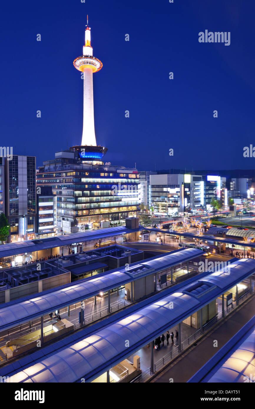 Ciudad de Kyoto, Japón, en la Torre de Kyoto. Imagen De Stock
