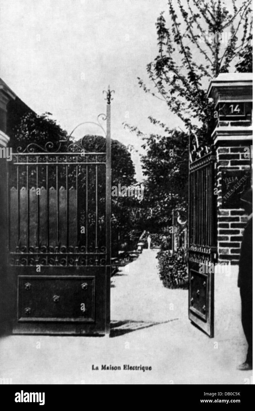 Energía, Electricidad, entrada a la Villa Feria Electra, concepto: Georgia Knap (1866 - 1946), Troyes, tarjeta Imagen De Stock