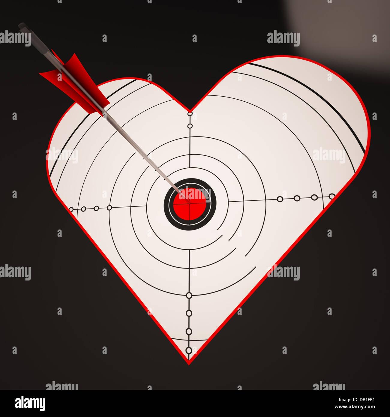 Corazón objetivo muestra feliz ganador en el amor Imagen De Stock
