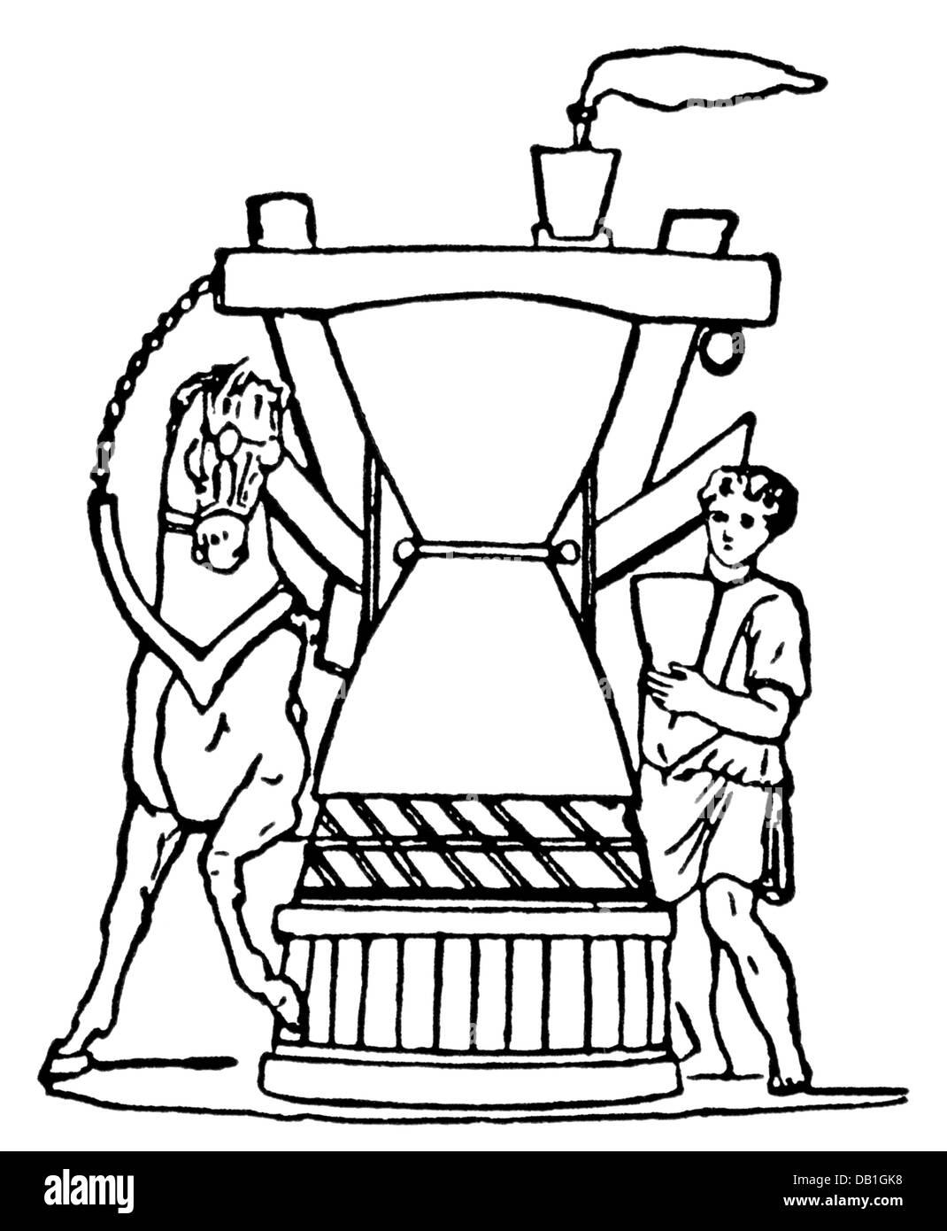 La comida, la harina, el molino giratorio en una panadería