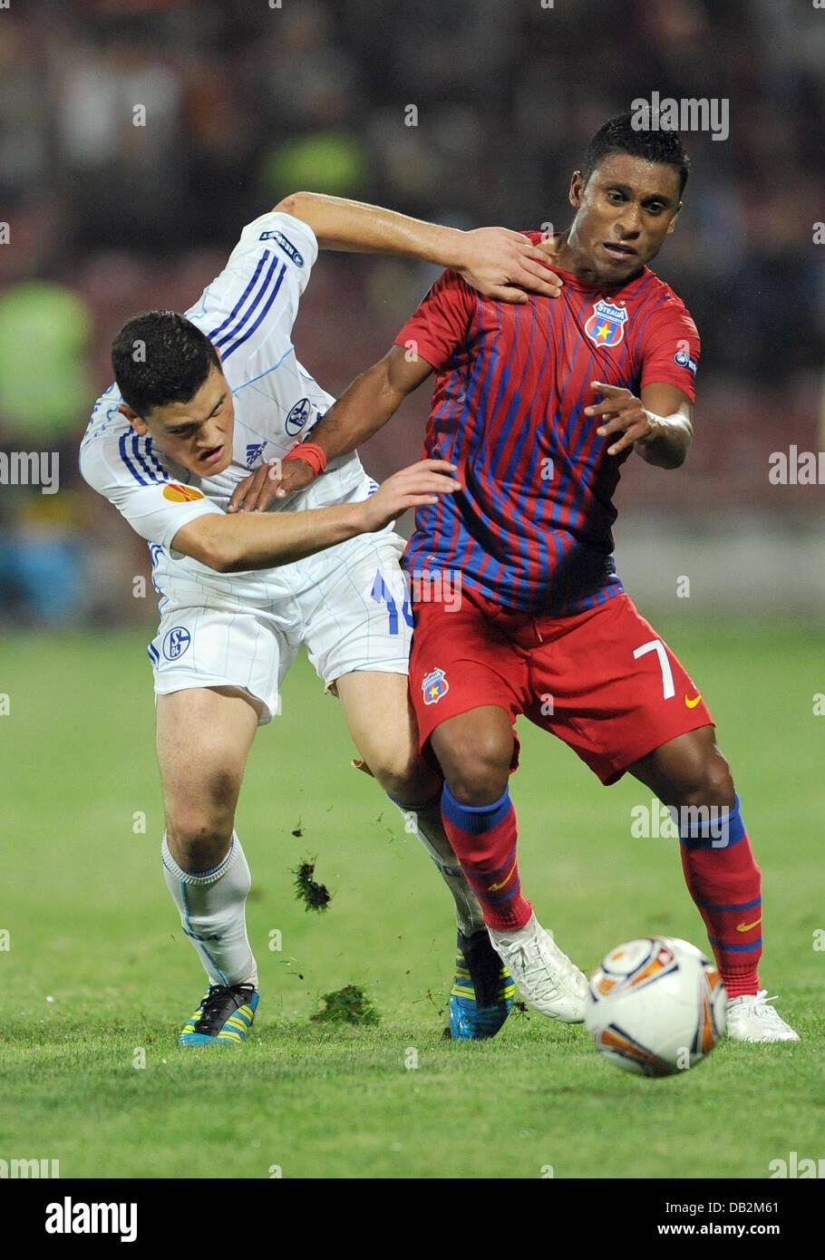 Steaua de Leandro Tatu y el Schalke's Kyriakos Papadopoulos, lucha por el balón durante la Europa League Imagen De Stock