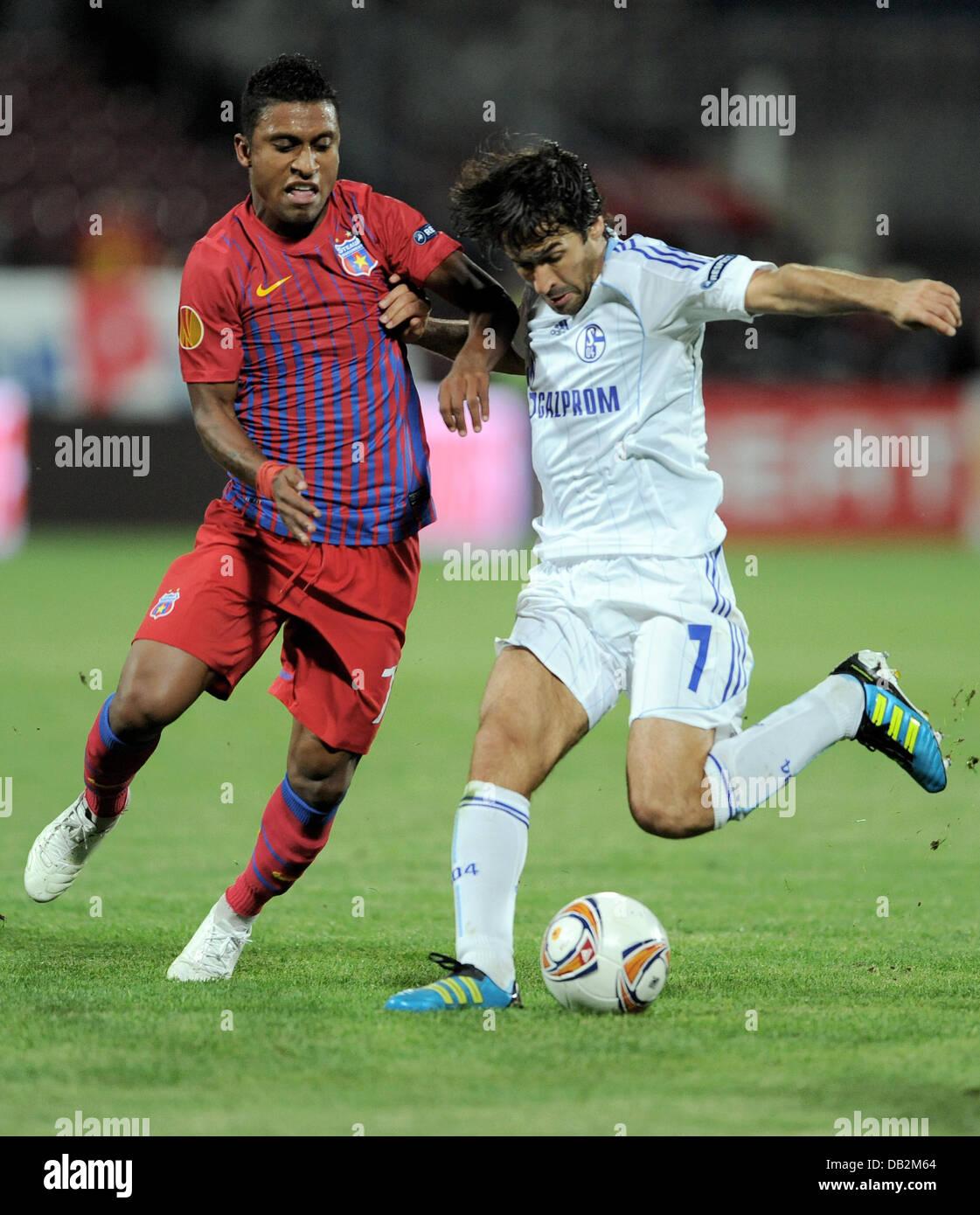 Steaua de Leandro Tatu y el Schalke de Raúl lucha por la posesión del balón durante la Europa League grupo J coinciden Foto de stock