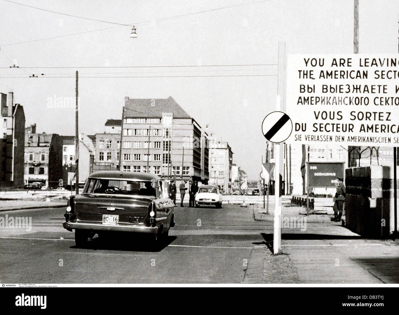 Geografía / viajes, Alemania, Berlín, muro fronterizo internacional Checkpoint Charlie, 1961-Clearences Imagen De Stock
