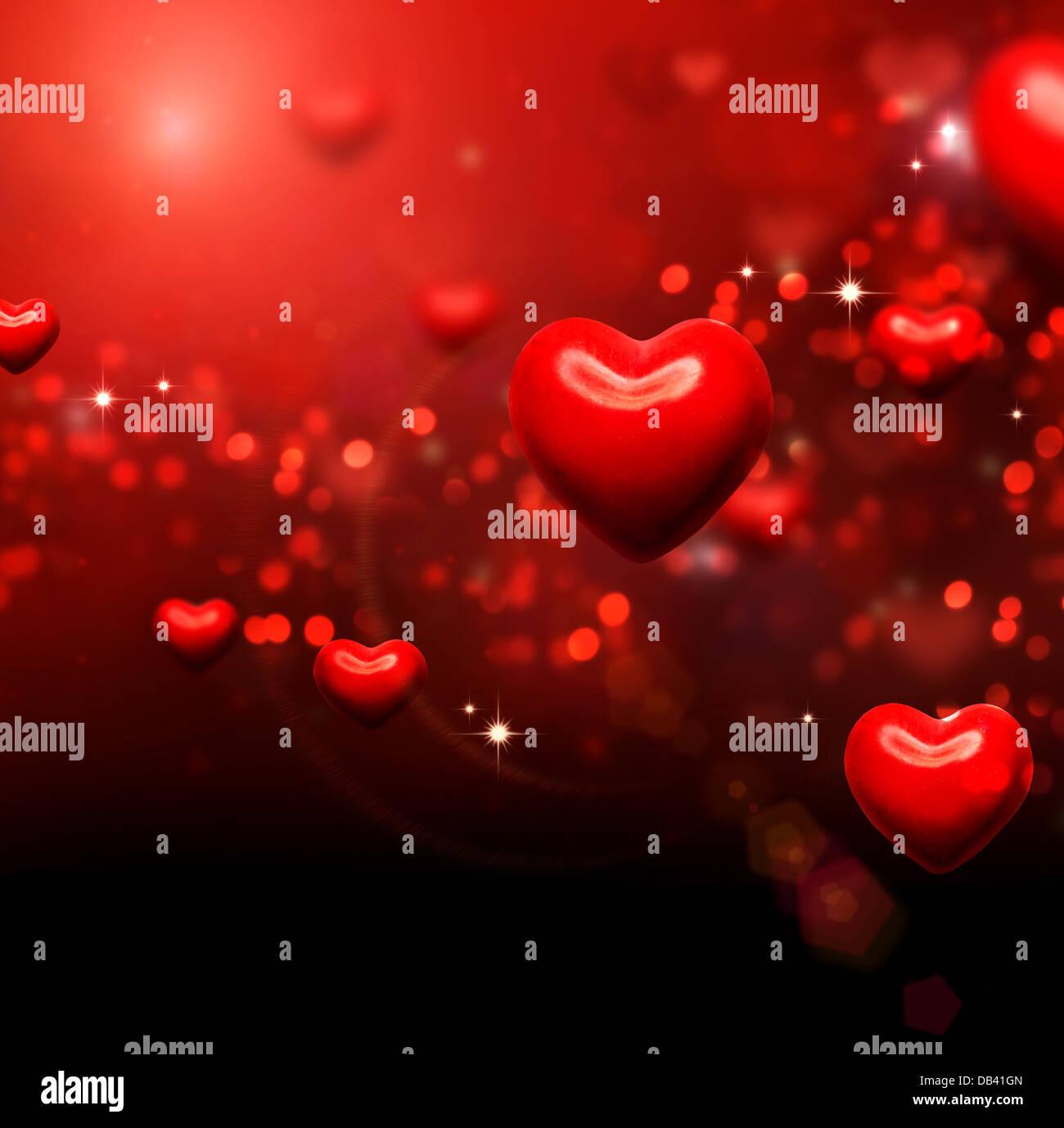 Corazones de San Valentín de fondo. Día de San Valentín Rojo Wallpaper abstracto Imagen De Stock