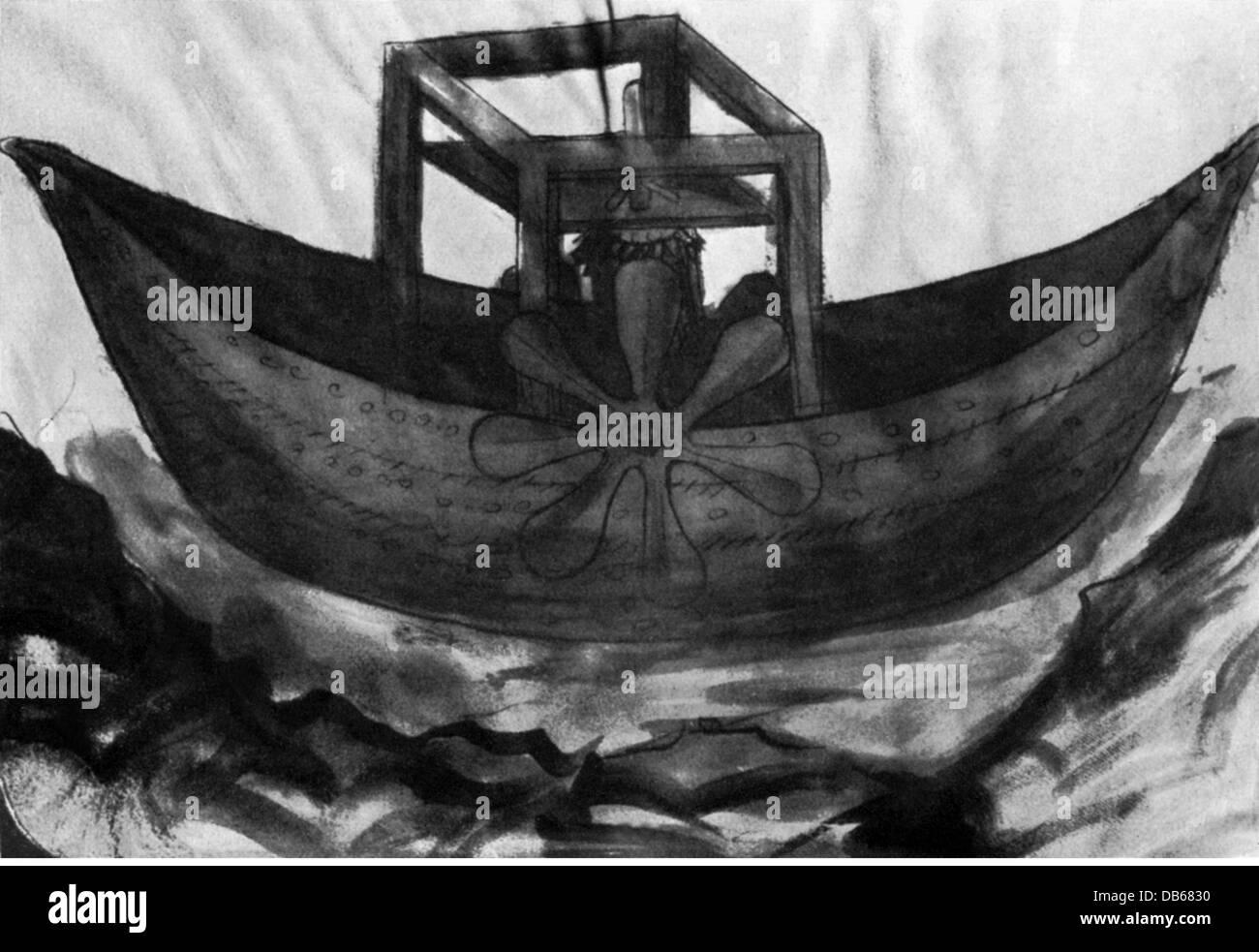 Transporte / Transporte, Navegación, Edad Media, barco de rueda de paletas, concepto por Konrad Kyeser (1366 Imagen De Stock