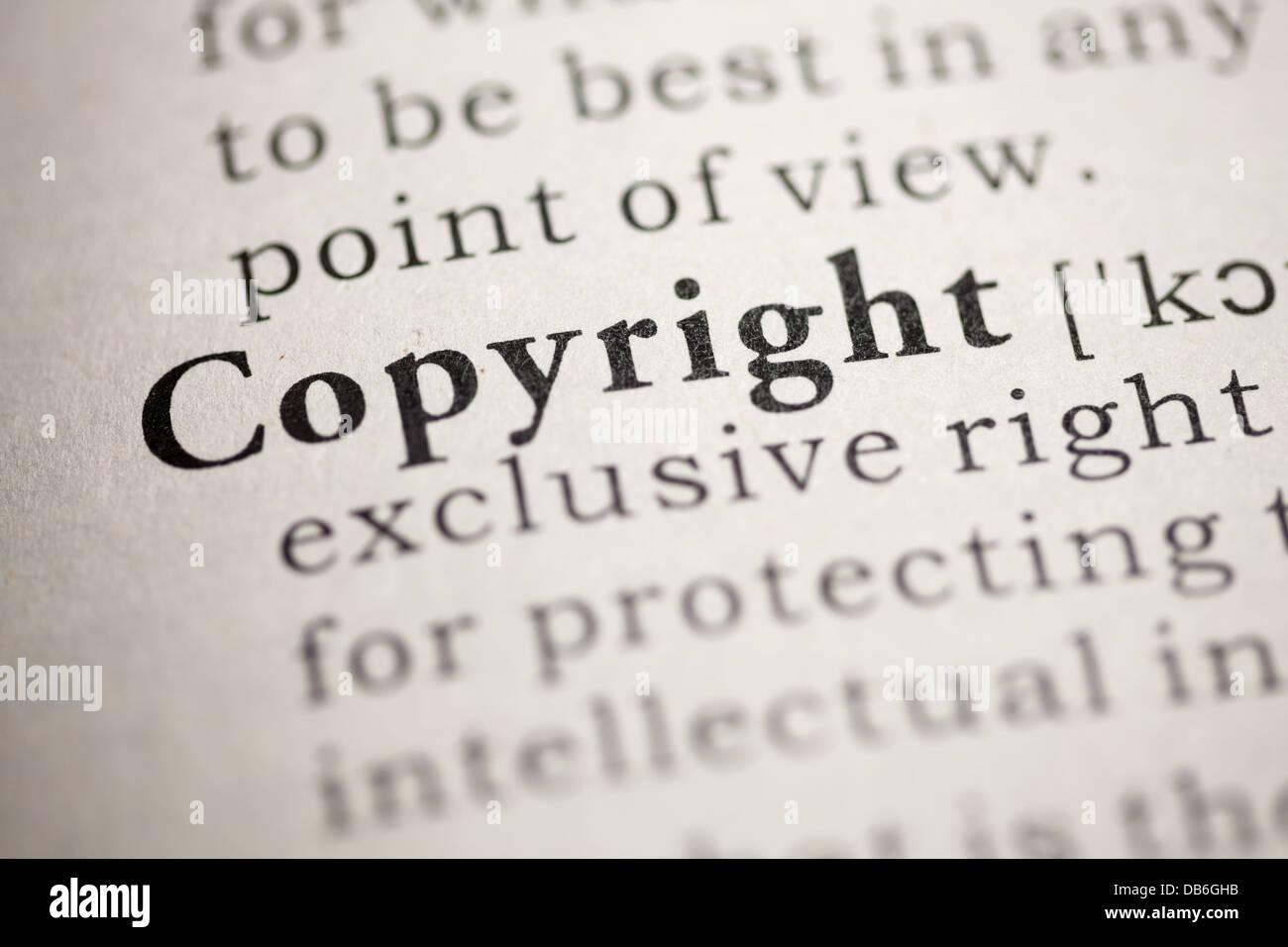 Diccionario de falsos, definición de diccionario de la palabra Copyright. Foto de stock