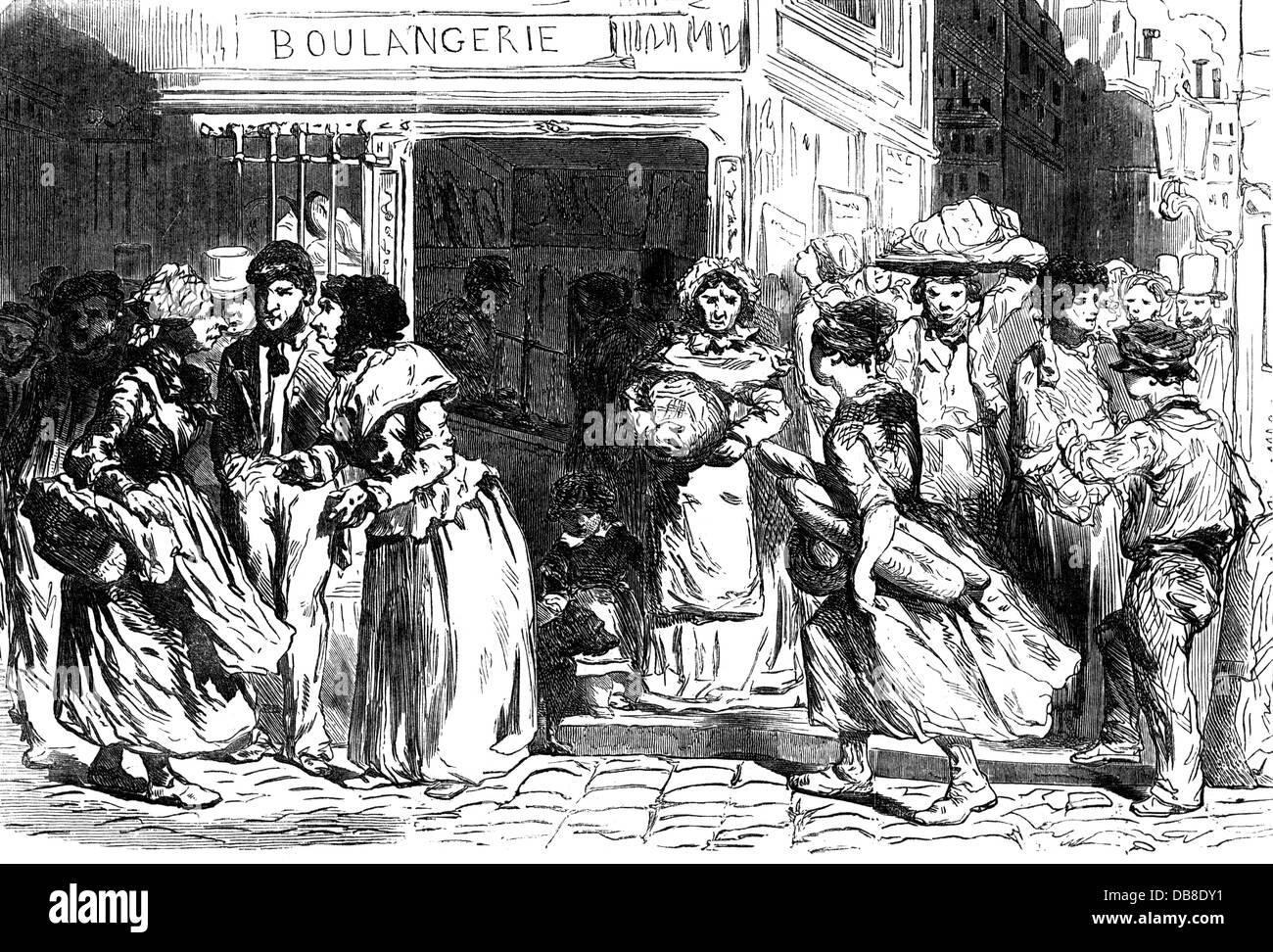 Comida, pan, los parisinos discutiendo el precio del pan, 'The Illustrated London News', 1853, Derechos adicionales-Clearences-no disponible Foto de stock
