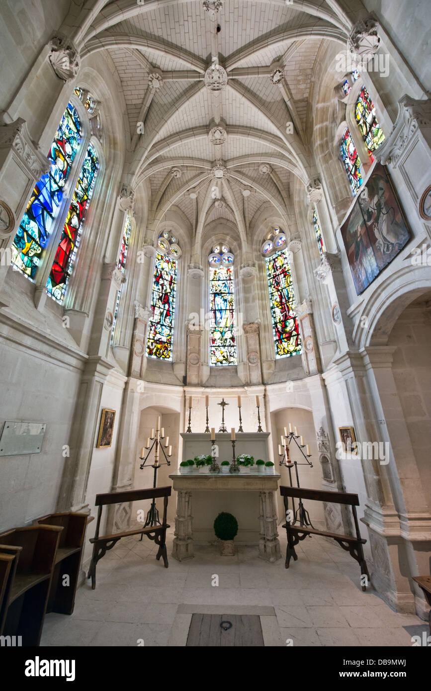 La capilla privada del castillo Chenonceau en el valle del Loira, Francia Imagen De Stock
