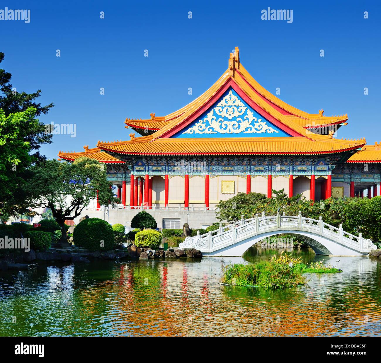 Teatro Nacional de Taiwán en la Plaza de la libertad, Taipei, Taiwán. Imagen De Stock