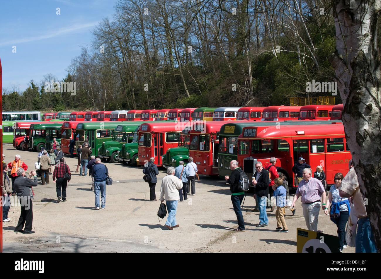 Una selección de vintage London buses tomar parte en una exposición en el Museo de Brooklands en Surrey. Imagen De Stock