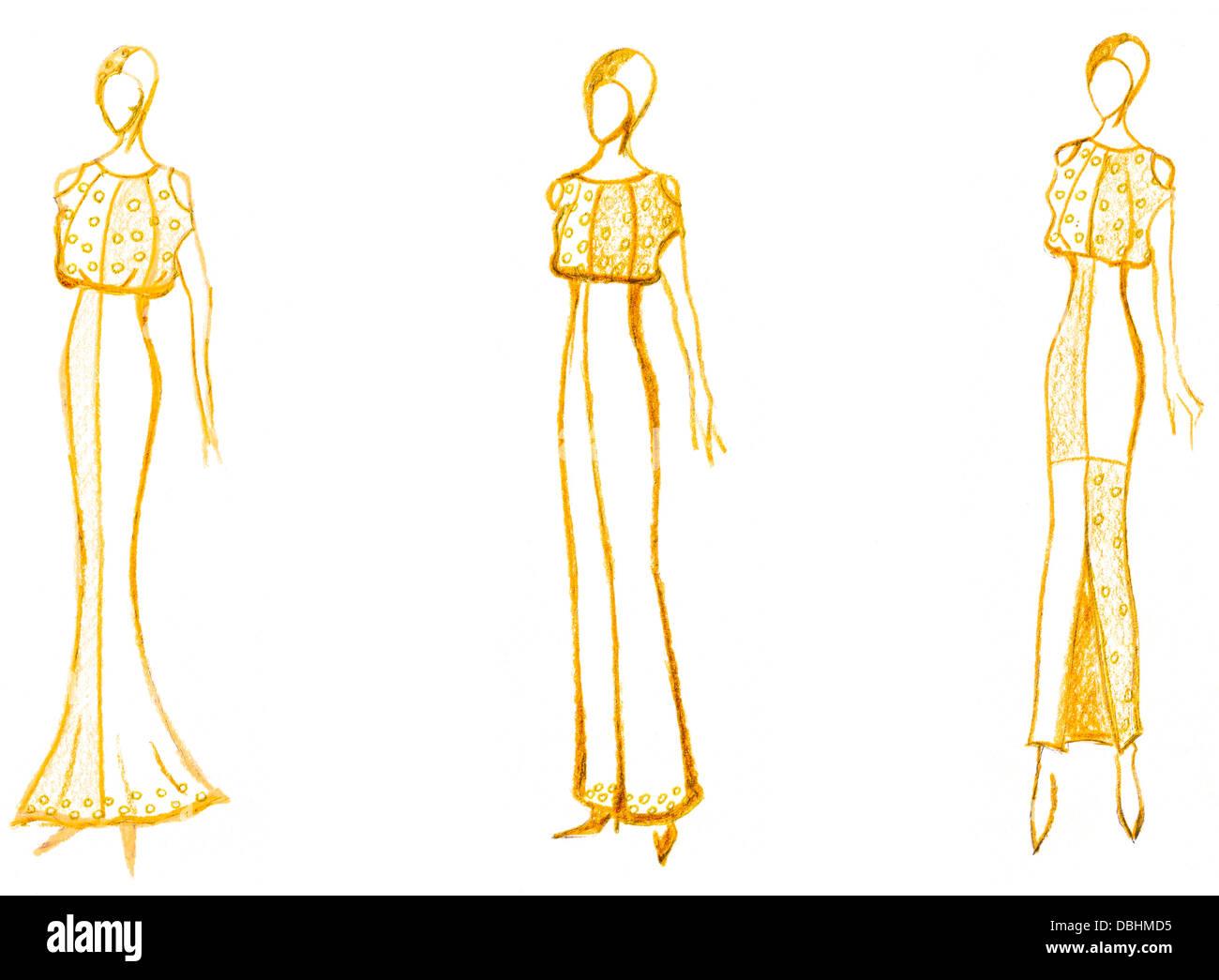 dd20edf2f Boceto de modelo de pasarela - desarrollo de señoras vestido de noche  Imagen De Stock