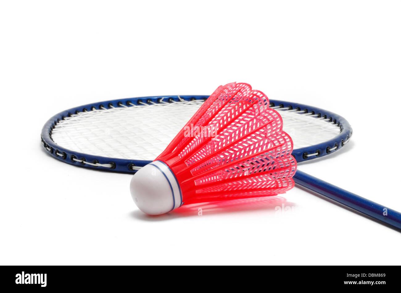 Badminton raqueta y Shuttlecock (Birdie) Imagen De Stock