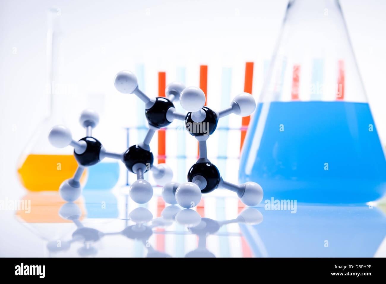 Laboratorio, estructura de ADN Foto de stock