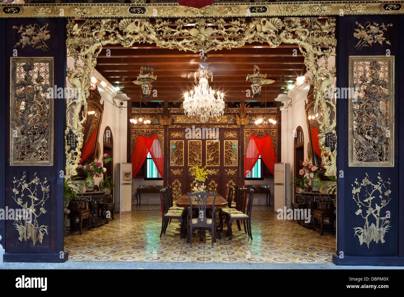 Penang Mansión Peranakan, recreación de una típica casa del siglo XIX Baba, Georgetown, Pulau Penang, Imagen De Stock