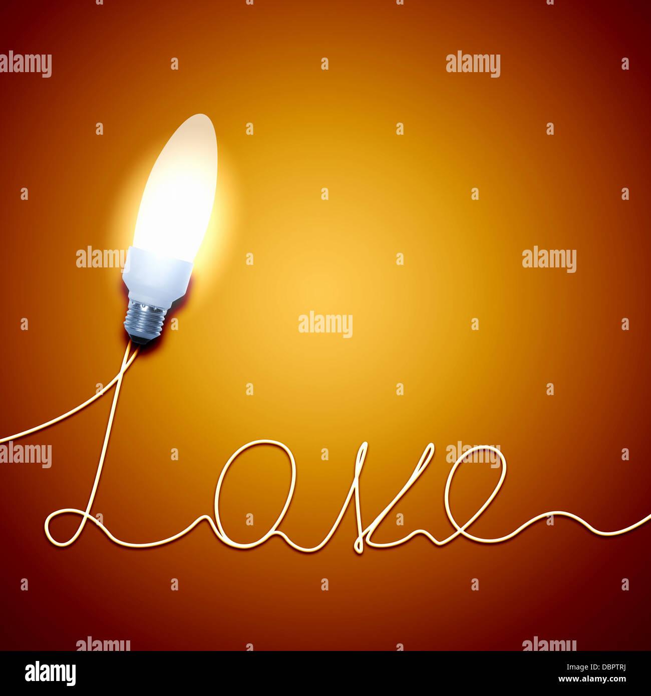 Bombilla de luz de amor Imagen De Stock
