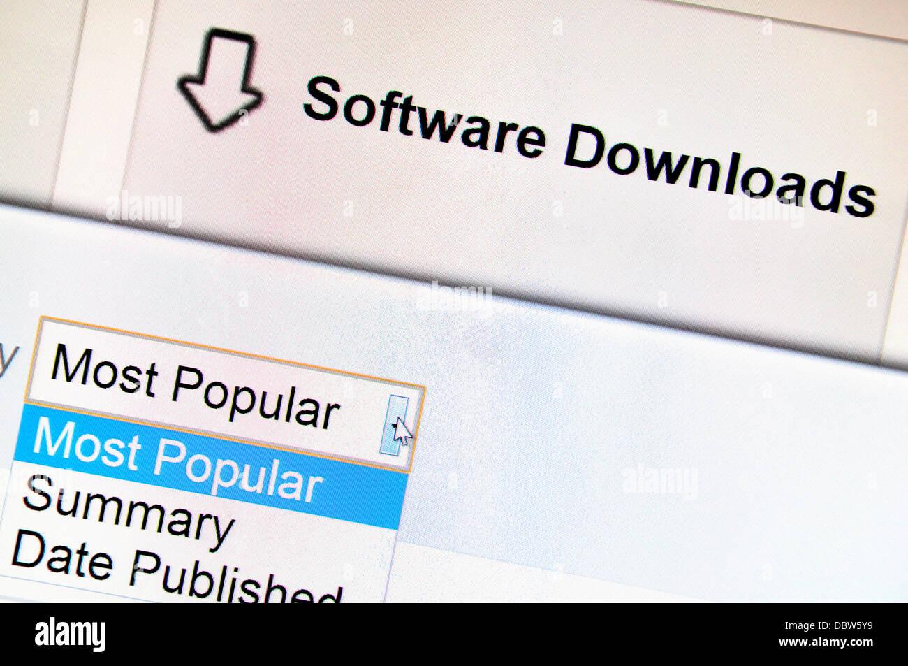 Captura de pantalla de ordenador - Internet. Descargas de software Imagen De Stock