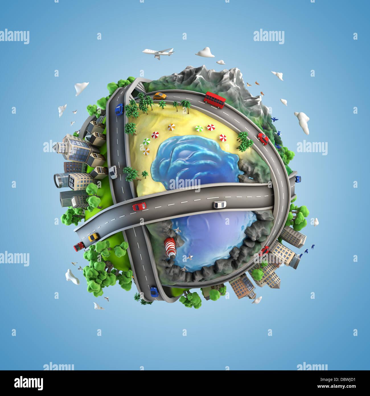 Concepto mundo mostrando la diversidad y transporte en el mundo, en un estilo de dibujos animados Imagen De Stock