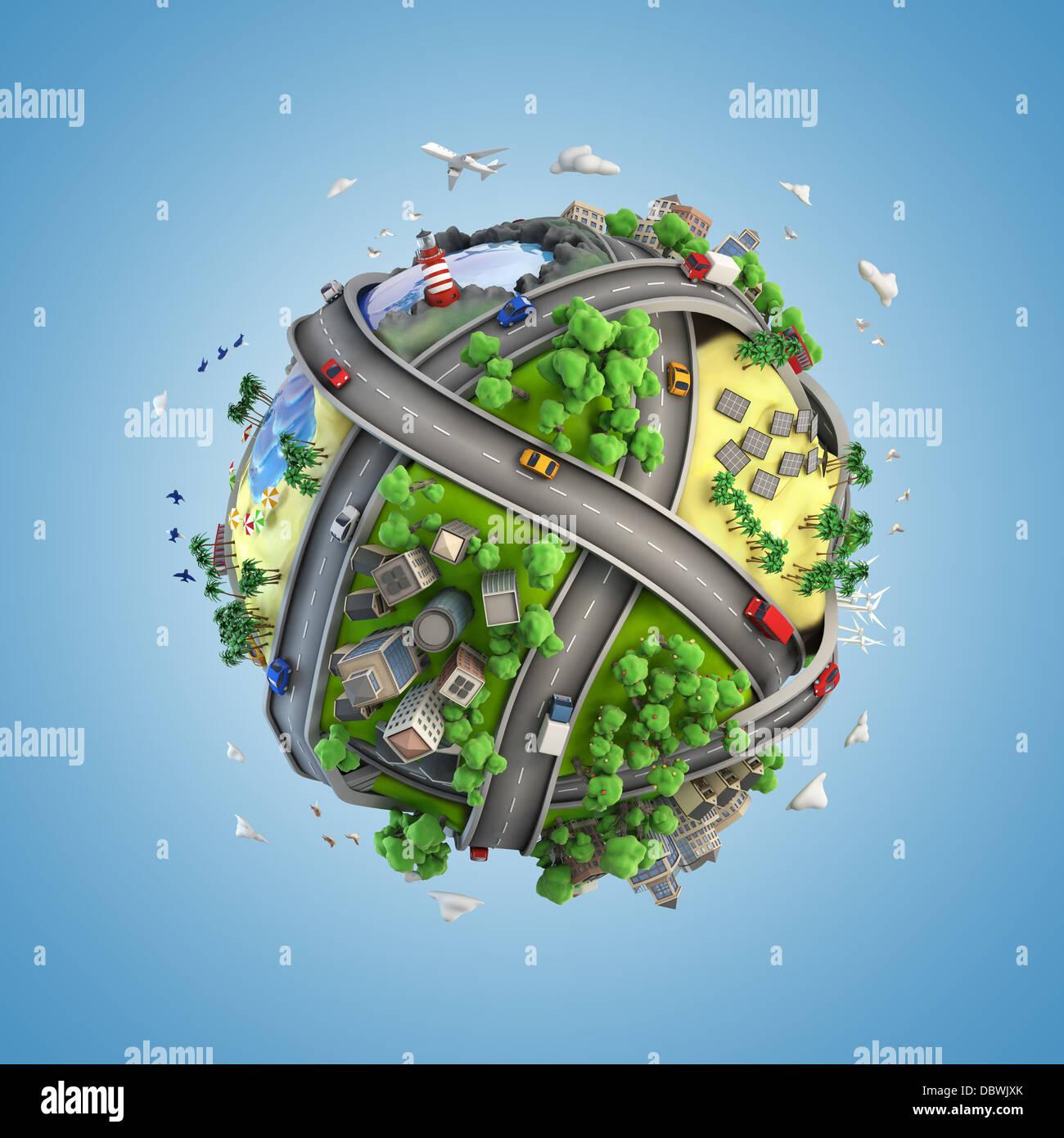 Concepto mundo mostrando la diversidad, el transporte y la energía verde en un estilo de dibujos animados Imagen De Stock