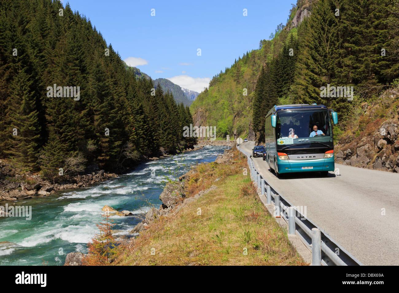 Autob s tur stico para los turistas alemanes en un for Para desarrollar un corredor estrecho