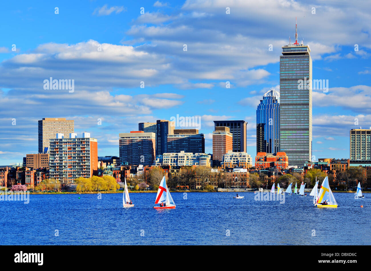 Boston, Massachusetts Skyline en distrito de Back Bay. Imagen De Stock