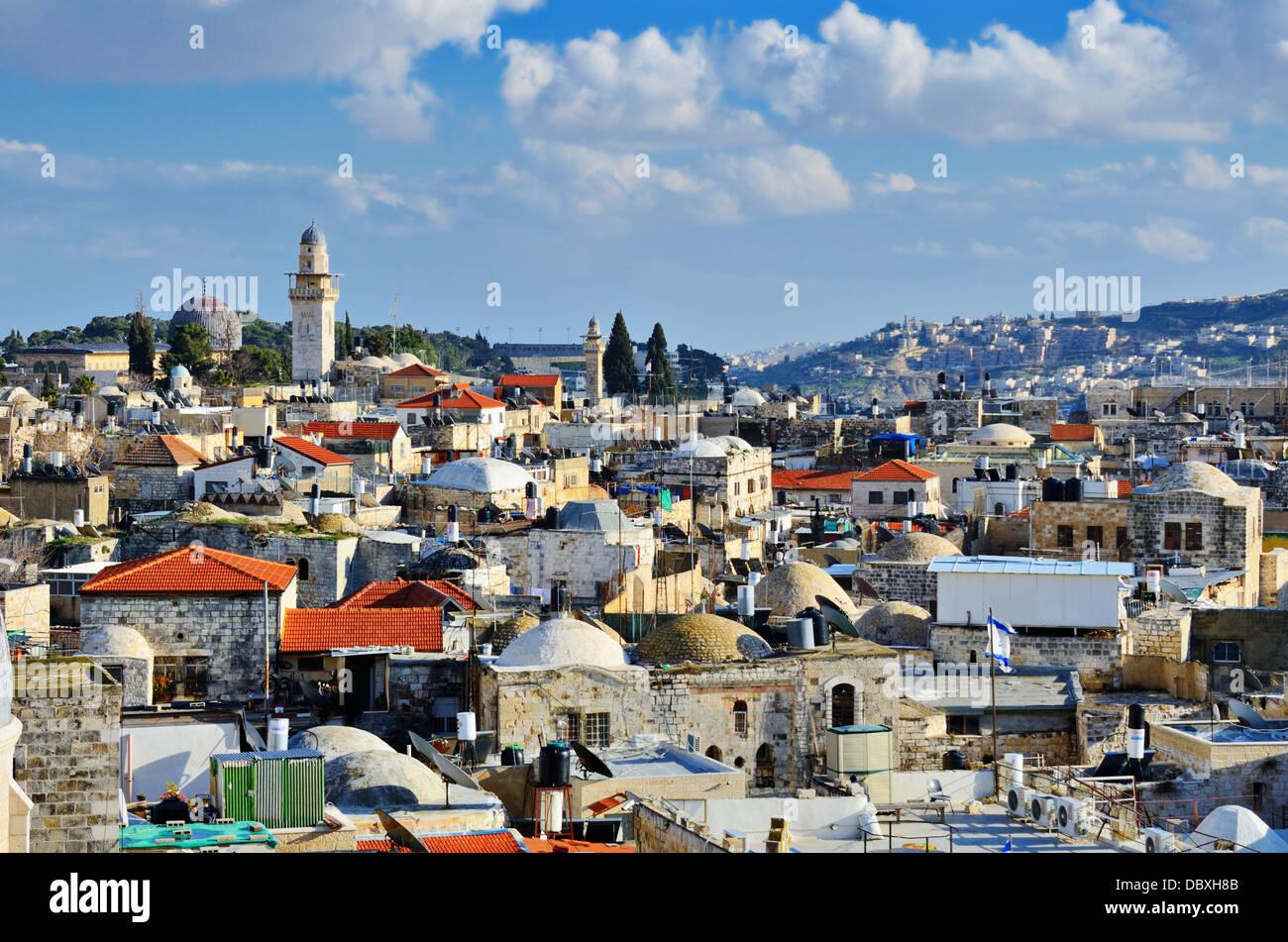 El horizonte de la Ciudad Vieja de Jerusalén, Israel. Imagen De Stock