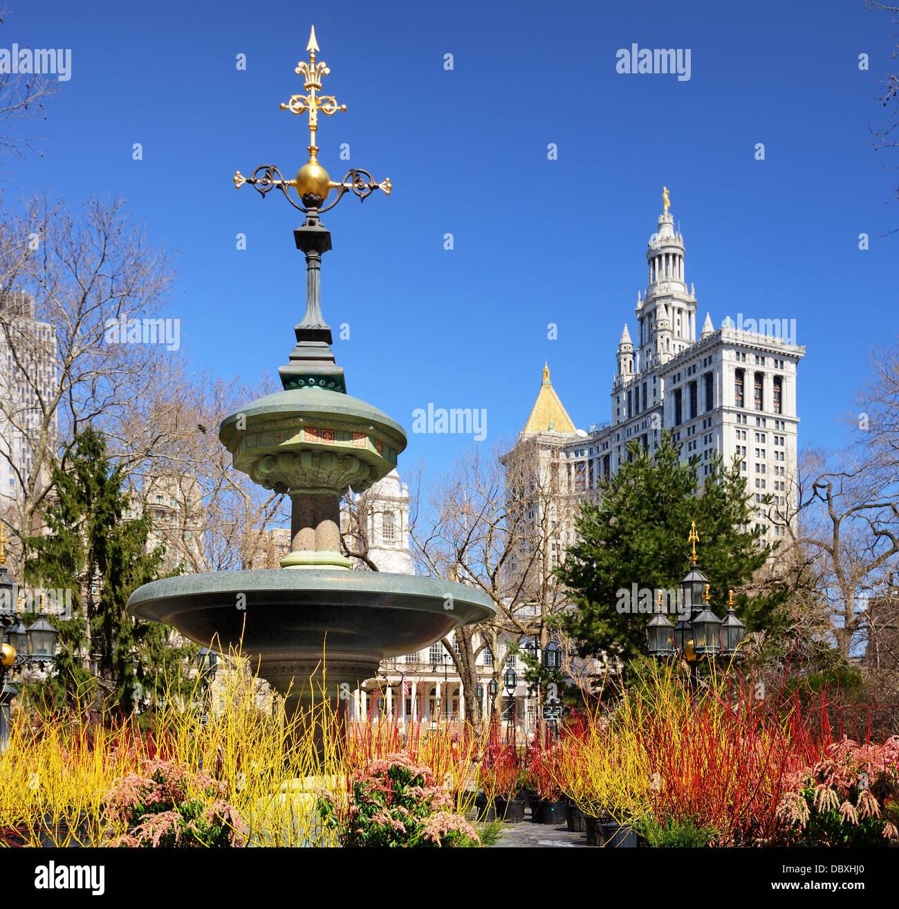 City Hall Park, en la Ciudad de Nueva York. Imagen De Stock