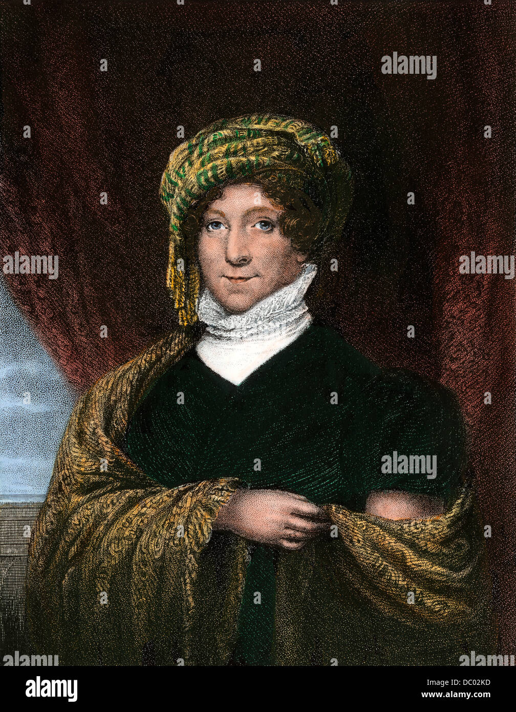 La Primera Dama Dolley Madison. Mano de color acero grabado Imagen De Stock