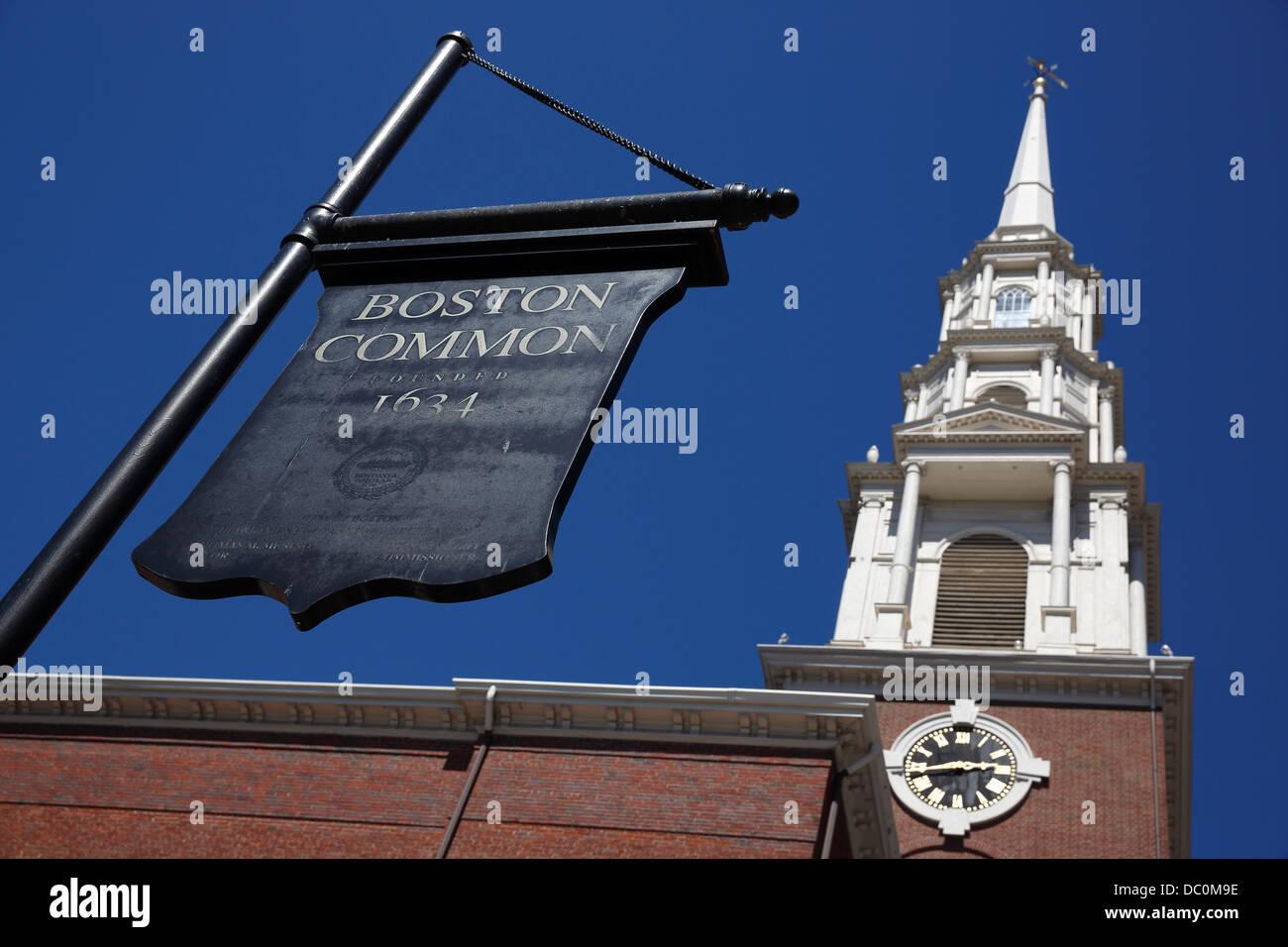 Park Street campanario en el Freedom Trail, Boston, Massachusetts Imagen De Stock
