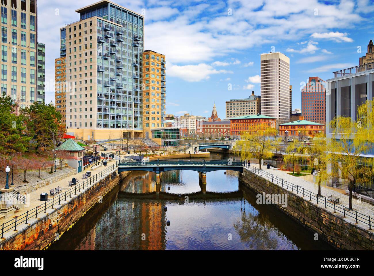Ciudad de Providence, Rhode Island en Waterplace Park. Foto de stock