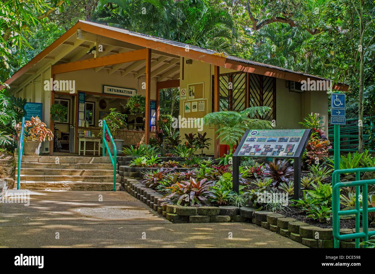 Ee.Uu., Hawai, Oahu, Honolulu. Entrada al Jardín Botánico Foster. Foto de stock