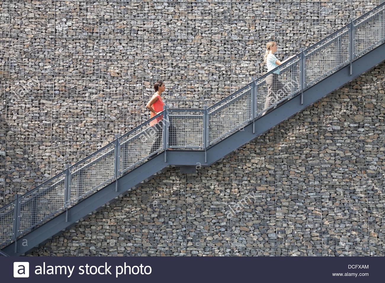 Vista lateral de la escalera de escalada de empresarias Foto de stock