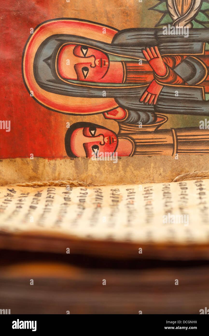 Un antiguo libro manuscrito biblia incunables incunable block Imprimir imprime la cubierta de cuero de piel de cabra Foto de stock