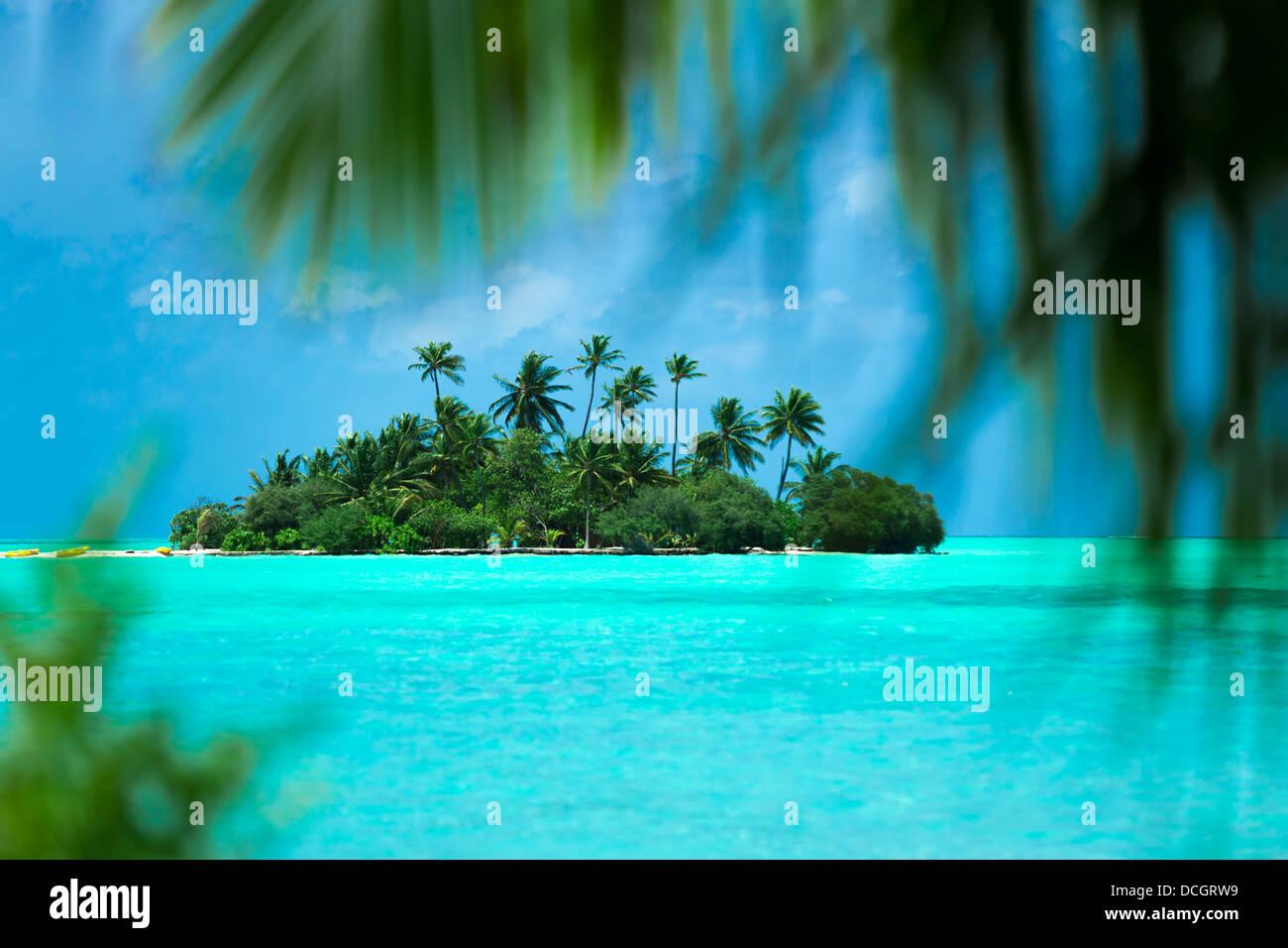 Isla tropical en el océano Foto de stock