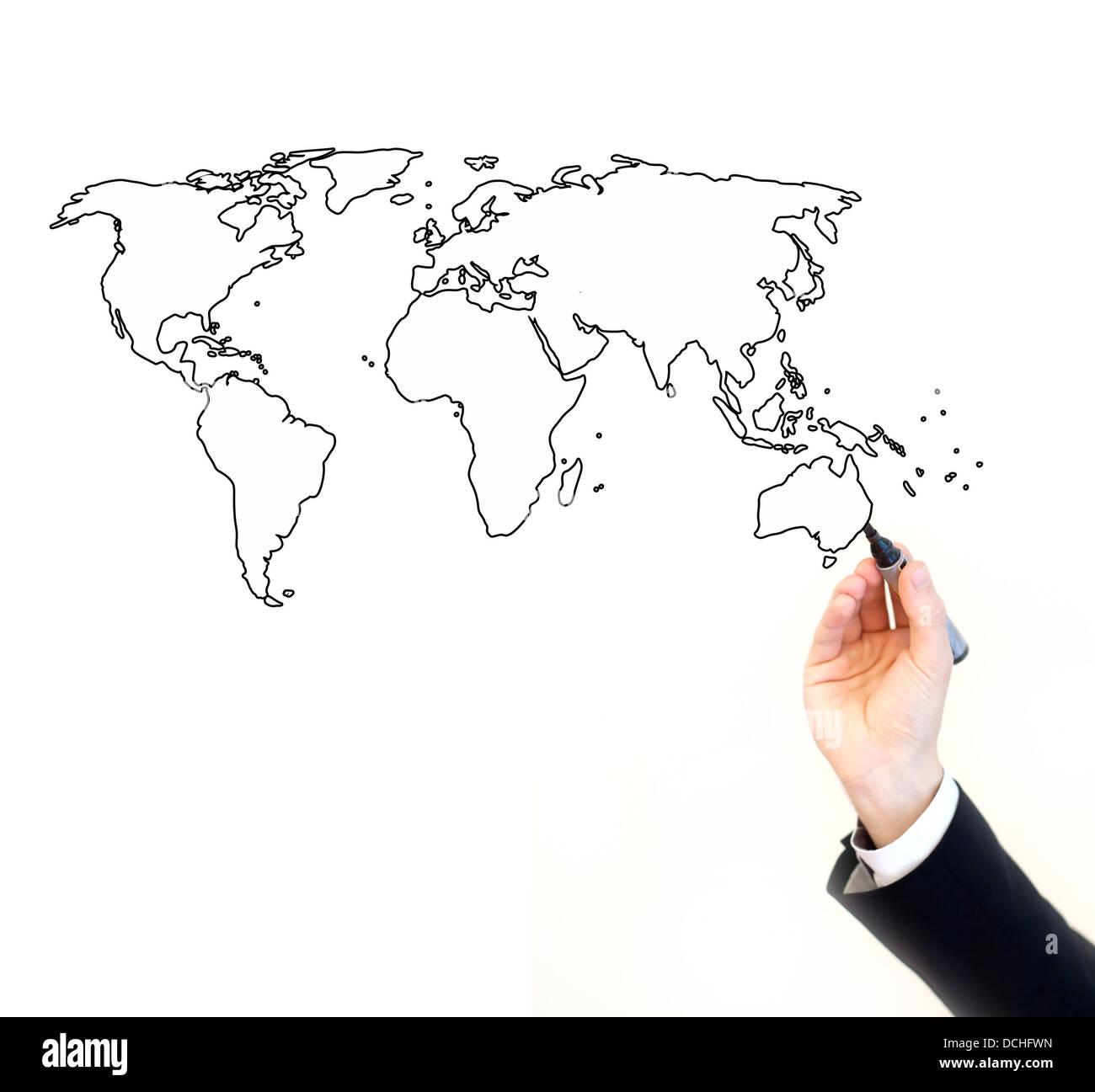 La mano del empresario de pintar un mapa del mundo, aislado en blanco con lugar para el texto Imagen De Stock
